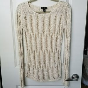 Distressed Cream Sweater - M